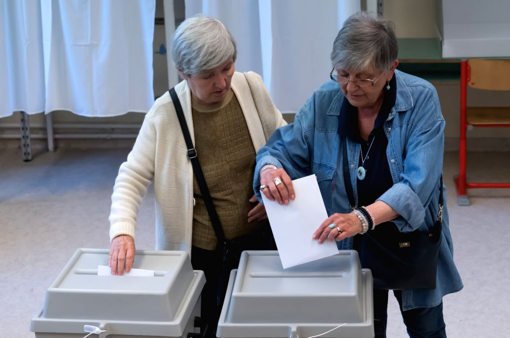 BUDAPEST, May 26, 2019 - Two women vote at a polling station during the European Parliament elections in Budapest, Hungary on May 26, 2019.