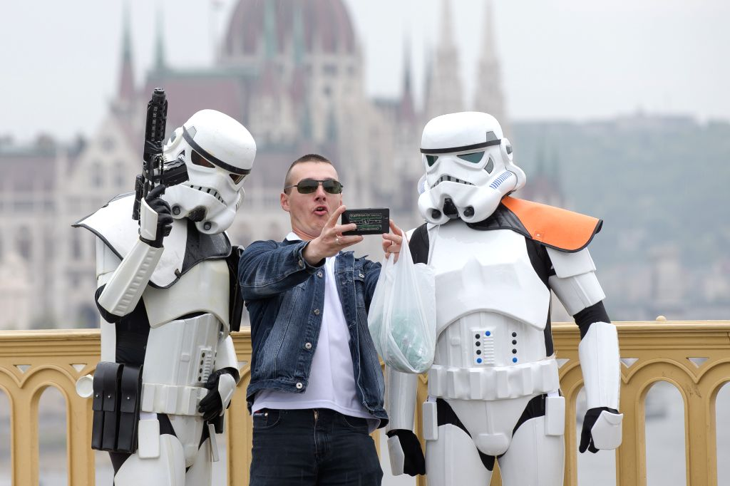 """Hungary's Star Wars fans dressed as their favourite movie characters celebrate the """"Star Wars Day"""", which falls on May 4th in Budapest, Hungary on May 3, ..."""