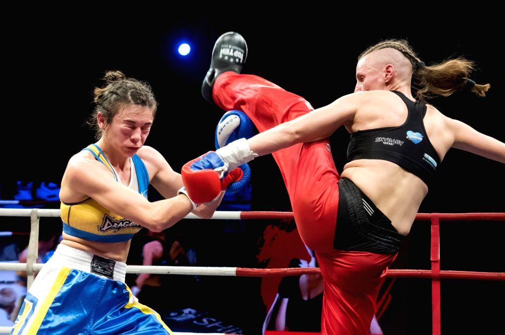 BUDAPEST, Nov. 17, 2019 - Renata Rakoczi (R) of Hungary fights with Antonina Osetska of Ukraine during the WAKO women's kick-boxing 55kg World Championship Final in Budapest, Hungary on Nov. 16, ...