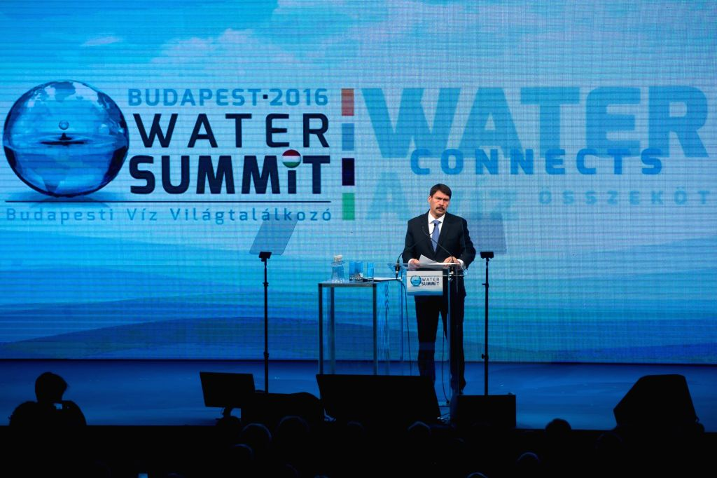 BUDAPEST, Nov. 28, 2016 - Hungarian President Janos Ader addresses the opening ceremony of the Budapest Water Summit 2016 in Budapest, capital of Hungary, on Nov. 28, 2016. The Budapest Water Summit ...