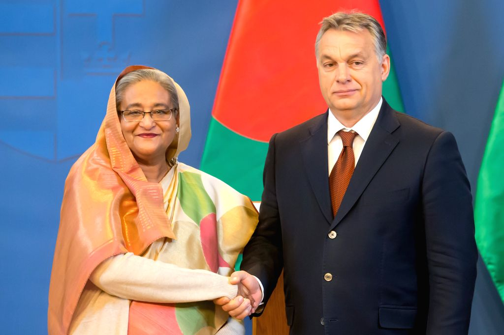 BUDAPEST, Nov. 29, 2016 - Visiting Bangladeshi Prime Minister Sheikh Hasina Wazed (L) shakes hands with her Hungarian counterpart Viktor Orban during a joint press conference after their meeting in ... - Sheikh Hasina Wazed