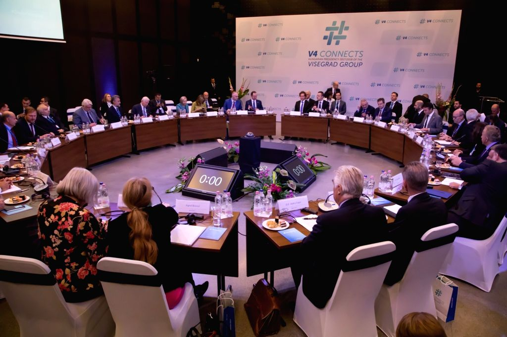 BUDAPEST, Oct. 11, 2017 - Photo taken on Oct. 11, 2017 shows the general view of a meeting of foreign ministers of Western Balkans in Budapest, Hungary. The Visegrad countries, namely Poland, Czech ...