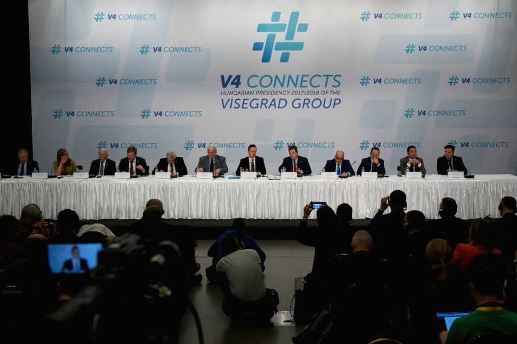 BUDAPEST, Oct. 11, 2017 - Photo taken on Oct. 11, 2017 shows a joint press conference following a meeting of foreign ministers of Western Balkans in Budapest, Hungary. The Visegrad countries, namely ...