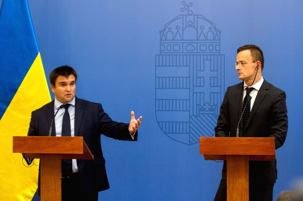 BUDAPEST, Oct. 12, 2017 - Visiting Ukrainian Foreign Minister Pavlo Klimkin (L) and Hungarian Minister of Foreign Affairs and Trade Peter Szijjarto hold a press conference following their meeting in ... - Pavlo Klimkin