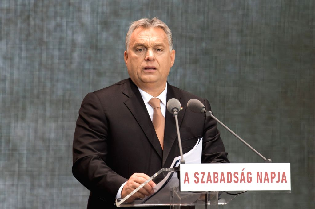 BUDAPEST, Oct. 24, 2018 - Hungarian Prime Minister Viktor Orban delivers a speech during the National Day commemorating the 1956 revolution in Budapest, Hungary, on Oct. 23, 2018. Europe's strength ... - Viktor Orban