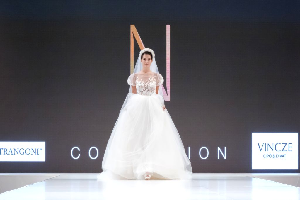 BUDAPEST, Oct. 28, 2019 - A model presents a wedding dress creation during a fashion show at the Wedding Expo held in Budapest, Hungary on Oct. 27, 2019.