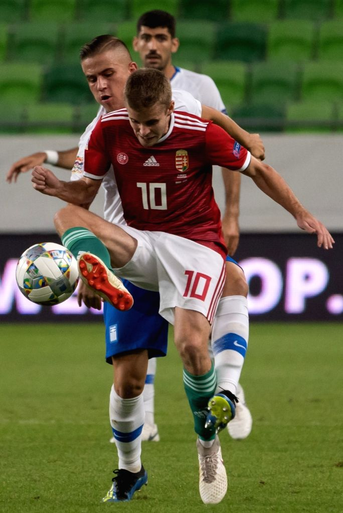 BUDAPEST, Sept. 12, 2018 - Istvan Kovacs (Front) of Hungary controls the ball during the UEFA Nations League match between Hungary and Greece at the Groupama Arena stadium in Budapest, Hungary on ...