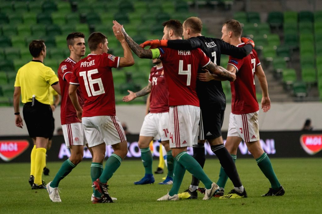 BUDAPEST, Sept. 12, 2018 - Players of Hungary celebrate during the UEFA Nations League match between Hungary and Greece at the Groupama Arena stadium in Budapest, Hungary on Sept. 11, 2018. Hungary ...