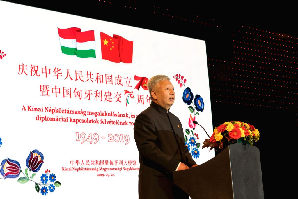 BUDAPEST, Sept. 28, 2019 - Chinese Ambassador to Hungary Duan Jielong speaks during a reception to celebrate the 70th anniversary of the founding of the People's Republic of China (PRC), in Budapest, ...