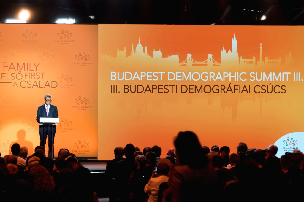 BUDAPEST, Sept. 5, 2019 - Czech Prime Minister Andrej Babis delivers a speech at the Budapest Demographic Summit III in Budapest, Hungary, on Sept. 5, 2019. The importance of family and the need to ... - Andrej Babis