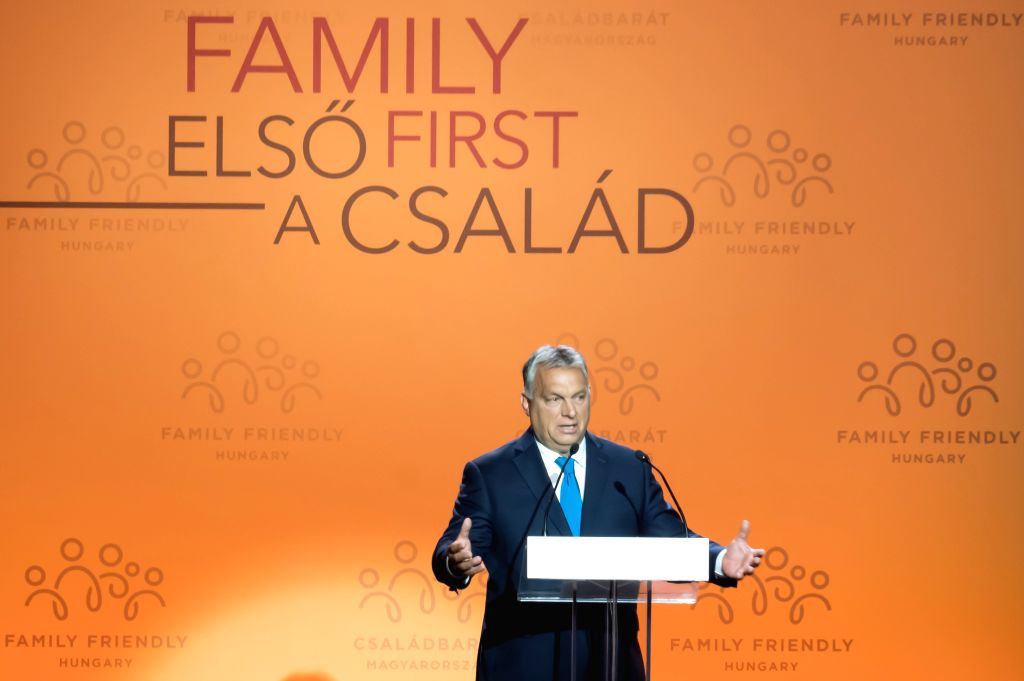 BUDAPEST, Sept. 5, 2019 - Hungarian Prime Minister Viktor Orban delivers a speech at the Budapest Demographic Summit III in Budapest, Hungary, on Sept. 5, 2019. The importance of family and the need ... - Viktor Orban
