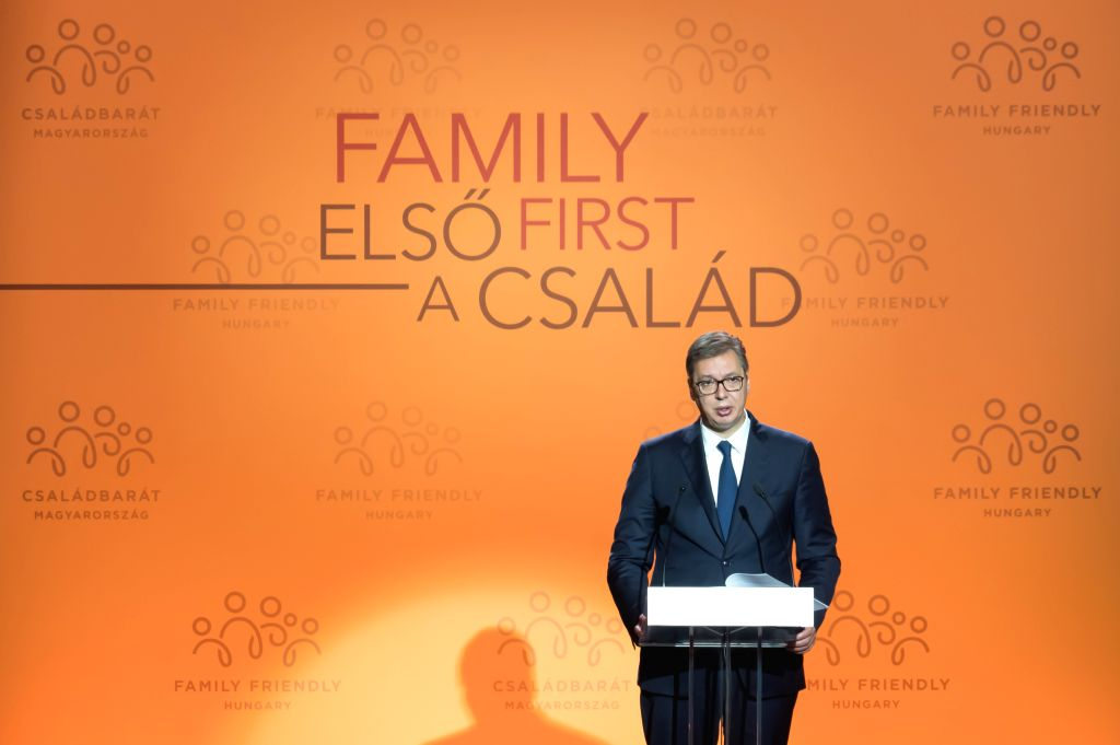 BUDAPEST, Sept. 5, 2019 - Serbian President Aleksandar Vucic delivers a speech at the Budapest Demographic Summit III in Budapest, Hungary, on Sept. 5, 2019. The importance of family and the need to ...