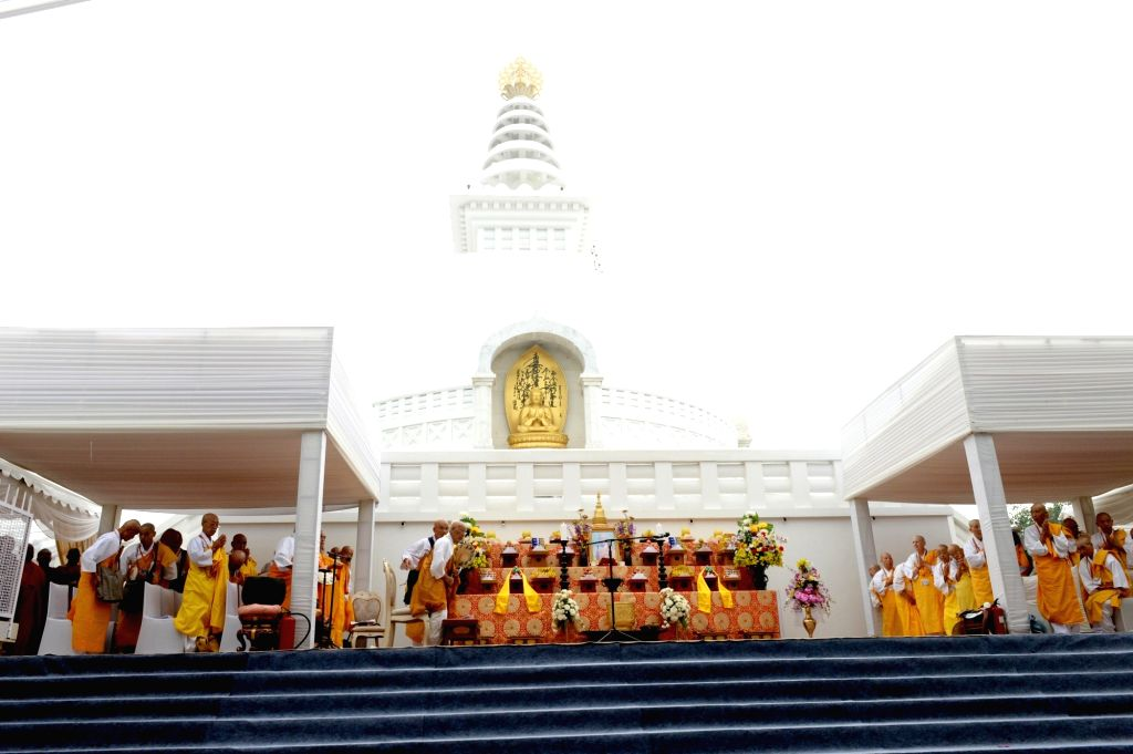 Buddhist monks at the 50th Anniversary celebrations of of Vishwa Shanti Stupa in Bihar's Rajgir on Oct 25, 2019.