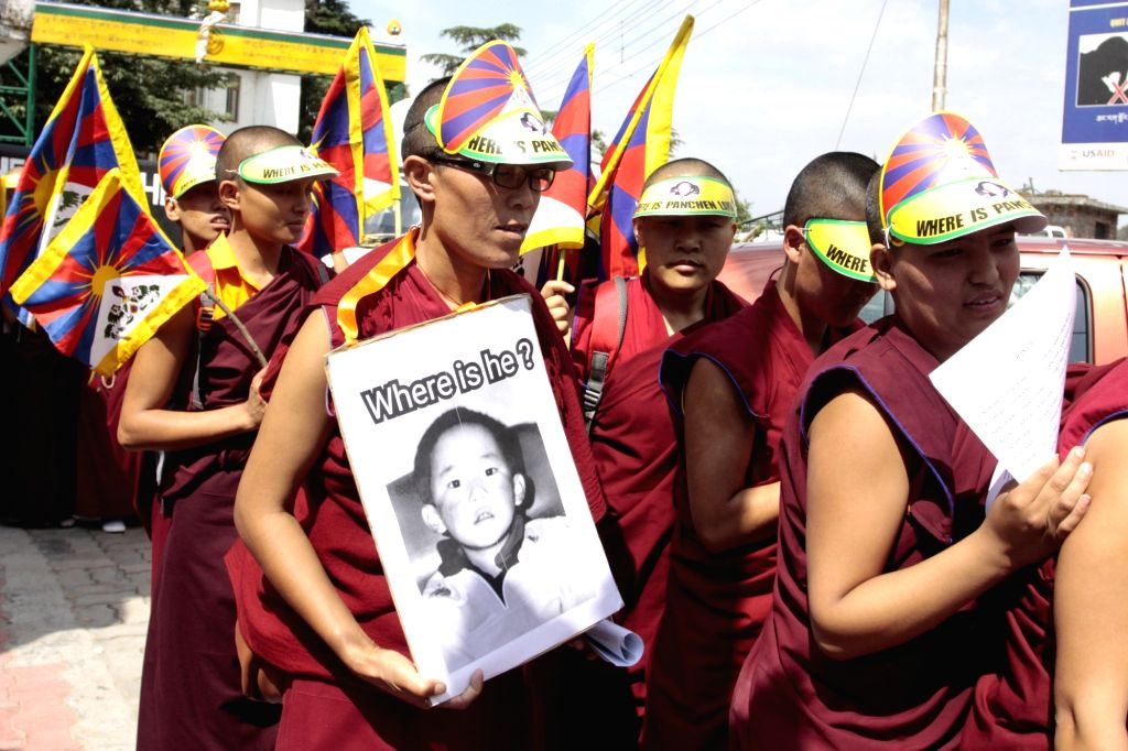 Buddhist monks stage a demonstration to ask about the whereabouts of their religious leader Gedhun Choekyi Nyima, the 11th Panchen Lama who was kept under house arrest in 1995 by China; ...