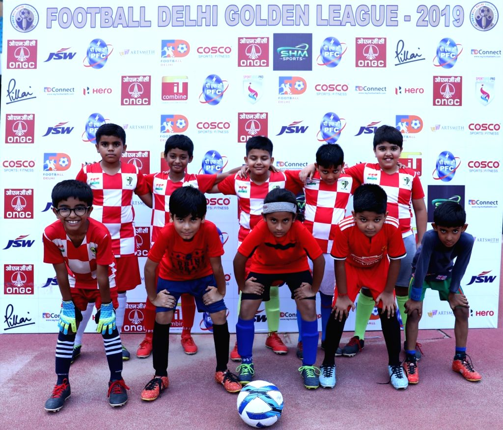 Budding young footballers during the launch of the Golden League Season 2 which promises to promote football at the grassroots at Jawaharlal Nehru stadium in New Delhi on Sep 29, 2019.
