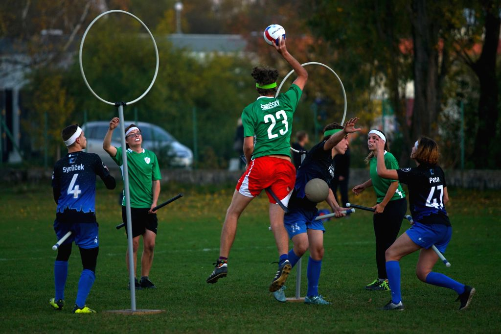 BUDEJOVICE, Oct. 27, 2019 - Players compete during a match between team Brno Banshees and team Prague Pegasus at the first Quidditch Championship in Budejovice of the Czech Republic, Oct. 26, 2019. ...