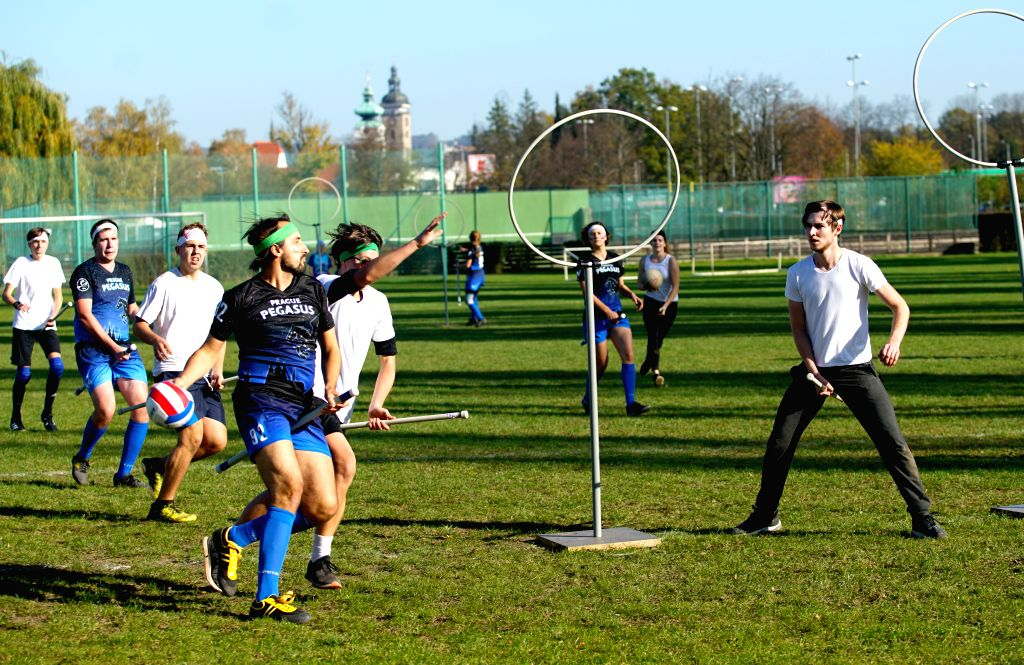 BUDEJOVICE, Oct. 27, 2019 - Players compete during a match between team Zlatonky Zatec and team Prague Pegasus at the first Quidditch Championship in Budejovice of the Czech Republic, Oct. 26, 2019. ...