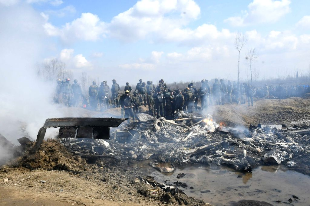 Budgam: Debris of an IAF aircraft that crashed in Budgam district of Jammu and Kashmir on Feb 27, 2019. (Photo: IANS)