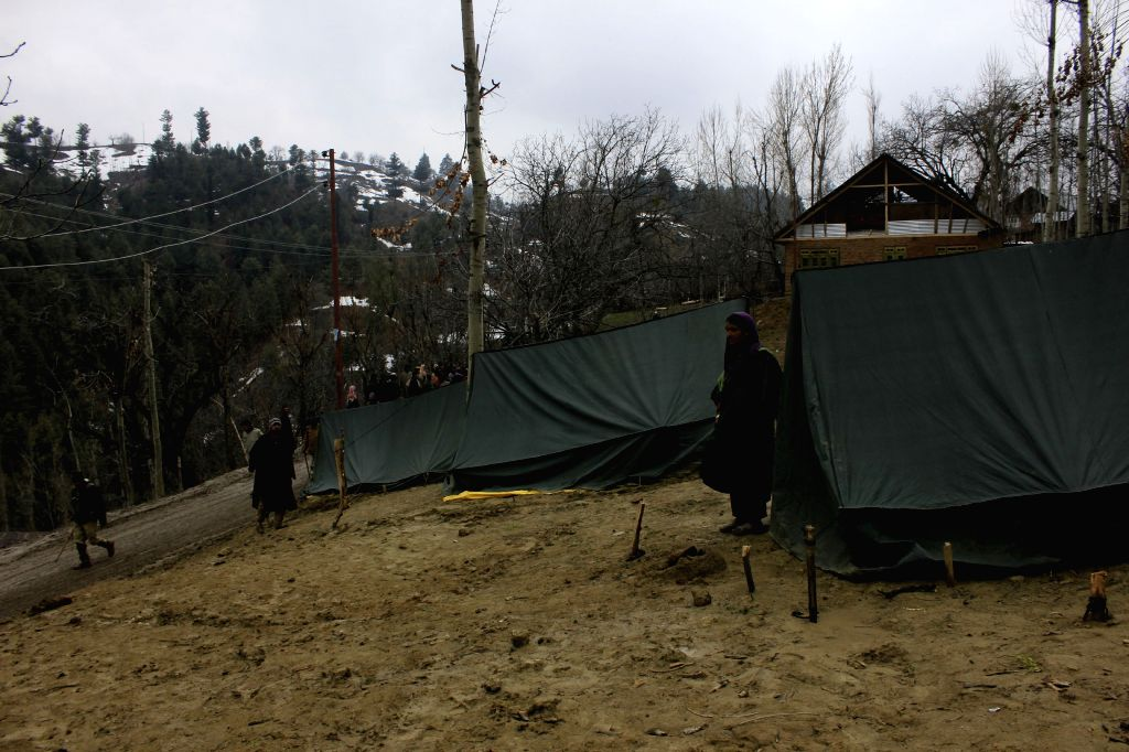 The summer tents that have been made available to the victims of landslide in Charari Sharief of Jammu and Kashmir`s Budgam district, on April 1, 2015.