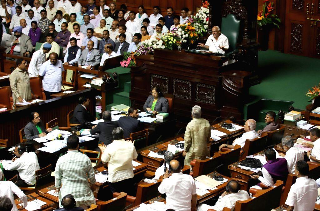 Budget session of Karnataka Assembly underway in Bengaluru on Feb 12, 2019.