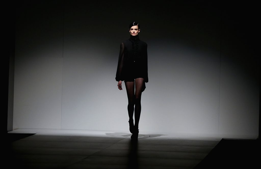 Buenos Aires: A model wears a creation by Argentinian desginer Pablo Ramirez during the Buenos Aires Fashion Week (Bafweek) Spring/Summer 2015-2016 in Buenos Aires, Argentina, 11 August 2015. ...