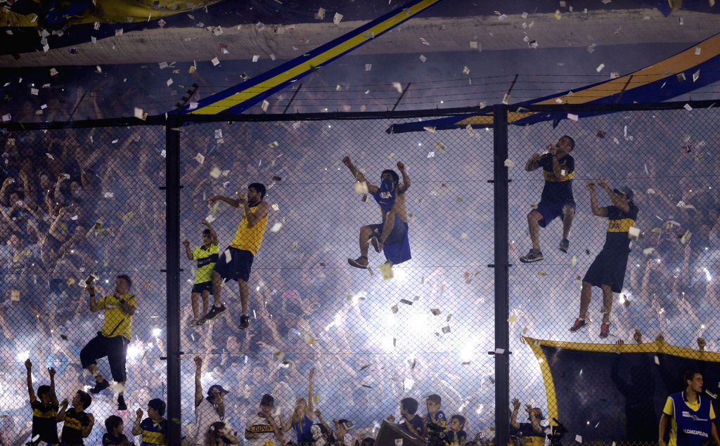 Buenos Aires (Argentina): Boca Juniors' fans react during the first leg match of South American Cup semifinals, against River Plate, held at Alberto J. Armando stadium, in Buenos Aires, Argentina, on