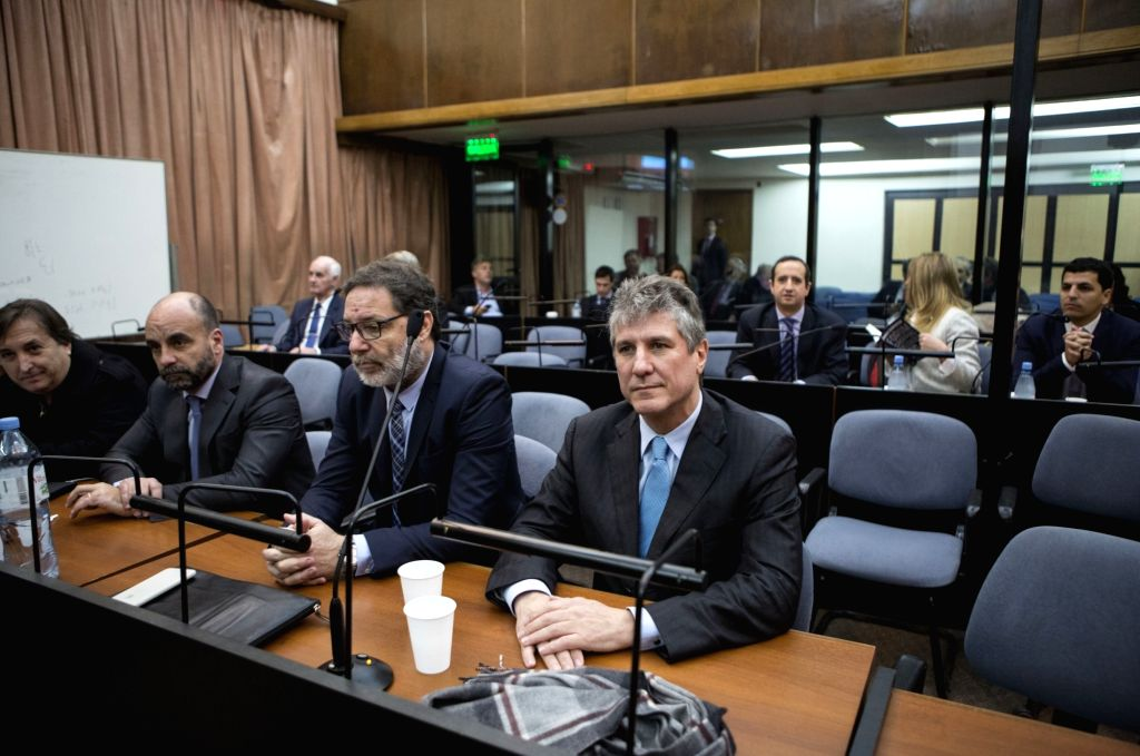 BUENOS AIRES, Aug. 08, 2018 - Argentina's former Vice President Amado Boudou (Front, R) attends a sentence hearing in Buenos Aires, capital of Argentina, on Aug. 7, 2018. Argentina's former Vice ...