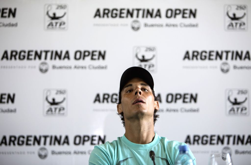 Spanish tennist Rafael Nadal attends a press conference in Buenos Aires, Argentina, Feb. 23, 2015. Nadal will take part in the 2015 ATP Argentina Open tennis ...