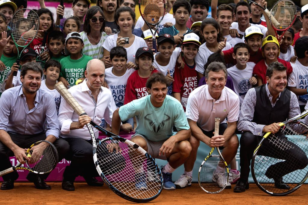 (From L to R, Front) San Lorenzo's club president Matias Lammens, Buenos Aires City Cabinet Chief Horacio Rodriguez Larreta, Spanish tennis player Rafael ...
