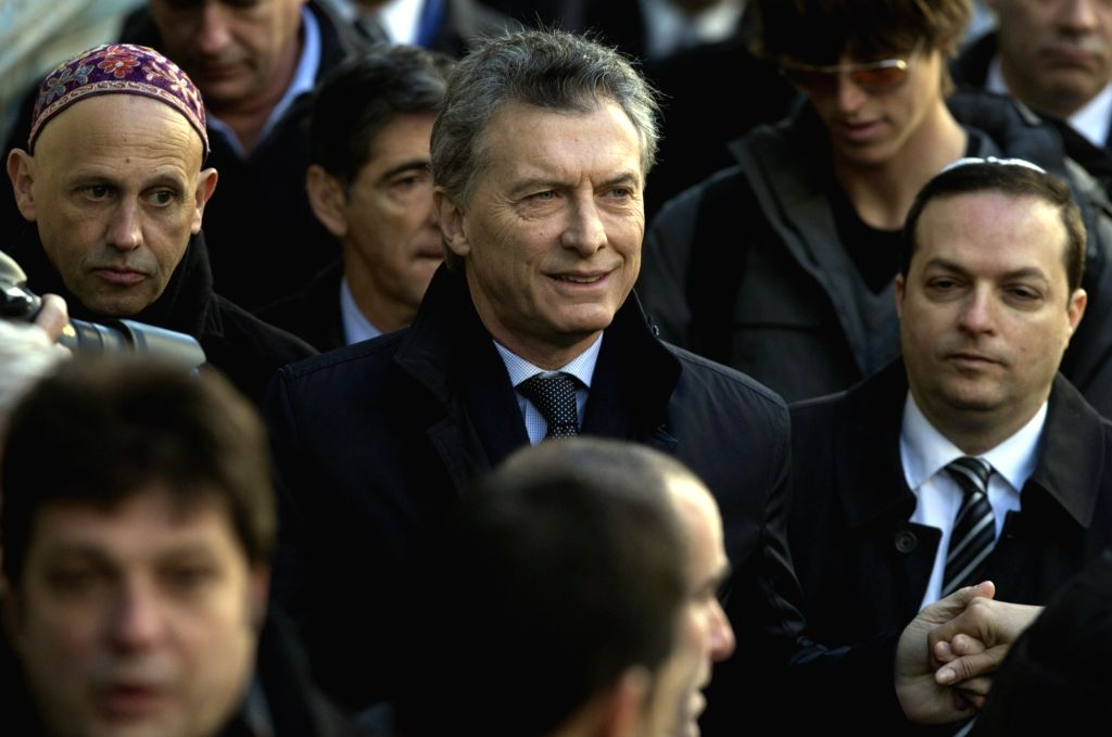BUENOS AIRES, July 19, 2016 - Argentine President Mauricio Macri (C) participates in a commemoration of the 22nd anniversary of a terrorist attack on a Jewish center in 1994 in Buenos Aires, capital ...