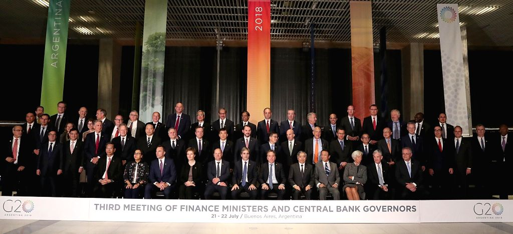 BUENOS AIRES, July 23, 2018 - Participants pose for photos during the Group of 20 (G20) Meeting of Finance Ministers and Central Bank Governors in Buenos Aires, Argentina, on July 21, 2018. Finance ...