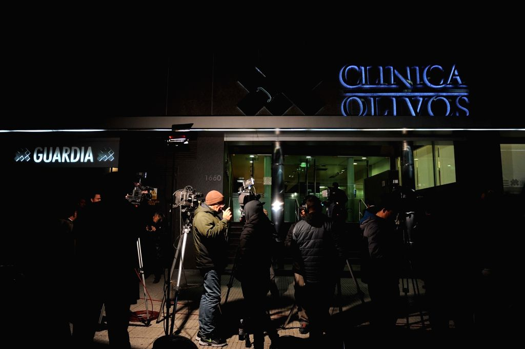 BUENOS AIRES, June 4, 2016 - Journalists work outside the Olivos Clinic in Buenos Aires, capital of Argentina, June 3, 2016. Argentine President Mauricio Macri was hospitalized in the clinic as a ...