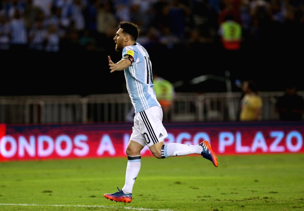 BUENOS AIRES, March 24, 2017 - Argentina's Lionel Messi celebrates after scoring during the match for the South American qualifiers for the Russia 2018 FIFA World Cup against Chile, held in the ...