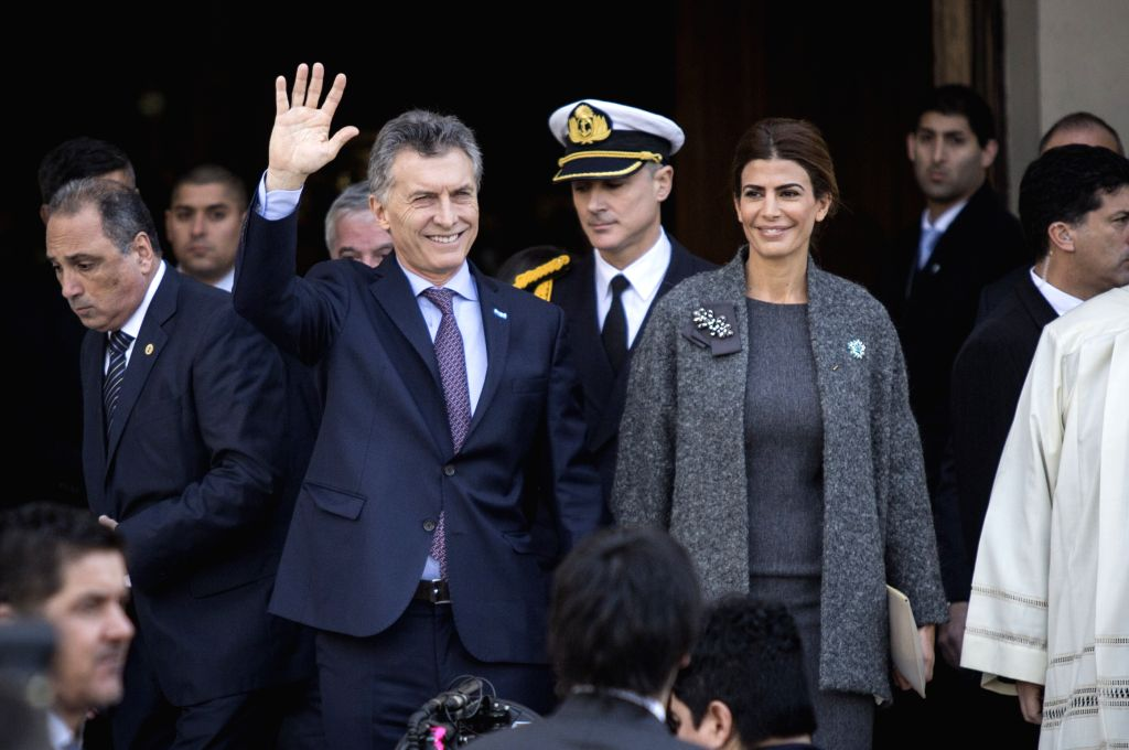 """BUENOS AIRES, May 26, 2016 - Argentina's President Mauricio Macri (2nd L Front) walks out after taking part in the Te Deum celebration of the 206th anniversary of the """"May Revolution"""" at ..."""