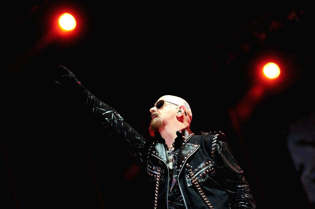 "Rob Halford, British musician and singer of Judas Priest, takes part in the ""Monsters of Rock"" Festival, in the City of Rock estate, in the Soldati ..."