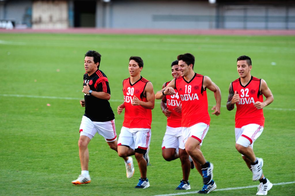 Buenos Aires: River Plate's players attend a training session prior to the first leg match of South American Cup semifinals against Boca Juniors, in Buenos Aires, Argentina, on Nov. 17, 2014. ...