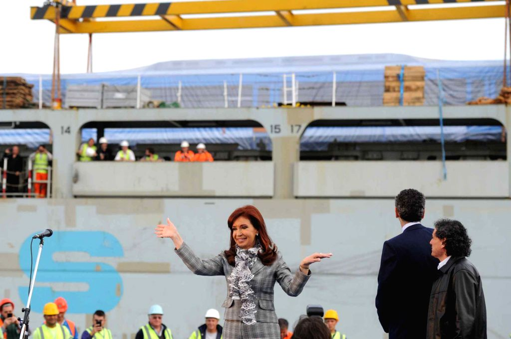 Argentina's President Cristina Fernandez participates in an activity promoting measures to renovate the country's railroad system, at Buenos Aires port Sept. ..