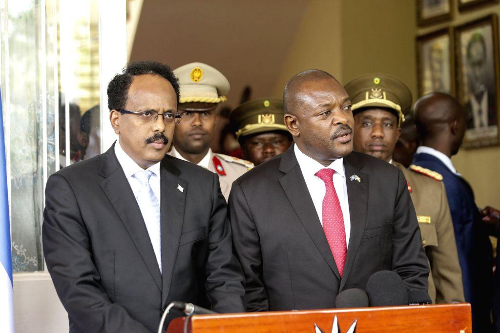 BUJUMBURA, Feb. 20, 2019 - Burundian President Pierre Nkurunziza (R) speaks at a joint press conference with visiting Somali President Mohamed Abdullahi Mohamed in Bujumbura, commercial capital of ...