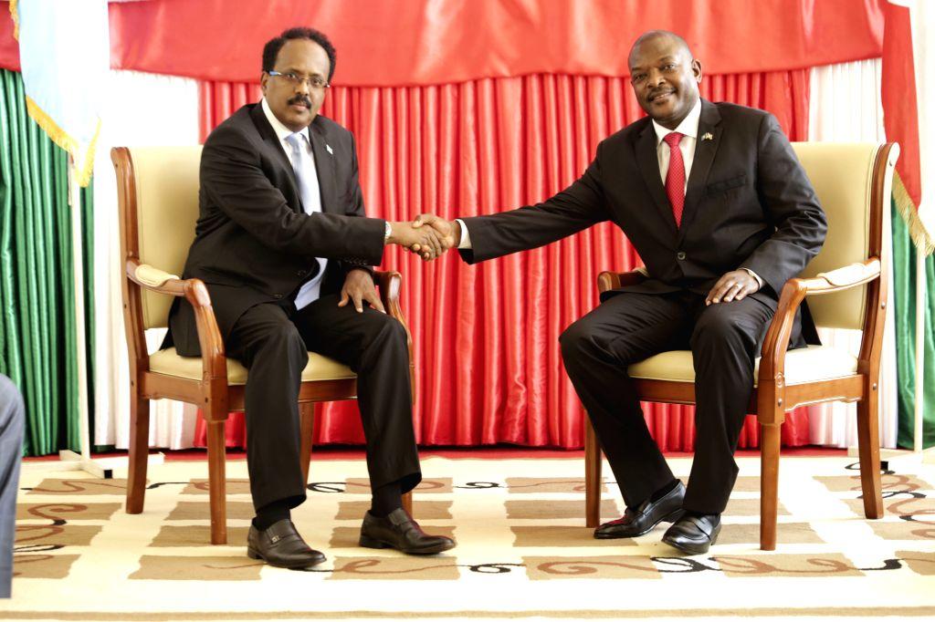 BUJUMBURA, Feb. 20, 2019 - Burundian President Pierre Nkurunziza (R) meets with visiting Somali President Mohamed Abdullahi Mohamed in Bujumbura, commercial capital of Burundi, on Feb. 19, 2019. ...