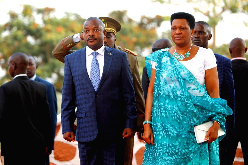 BUJUMBURA, July 4, 2017 - Burundian President Pierre Nkurunziza (Front L) attends the celebration to mark 55th anniversary of independence in Bujumbura, capital city of Burundi, on July 1, 2017.