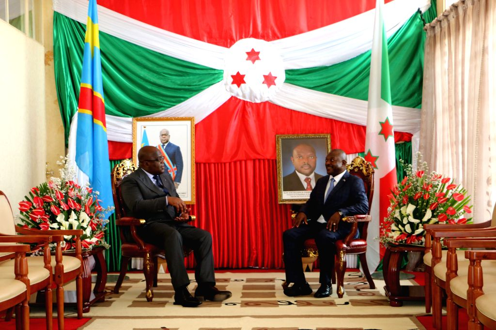 BUJUMBURA, June 15, 2019 - President of the Democratic Republic of the Congo Felix Tshisekedi (L) meets with Burundian President Pierre Nkurunziza in Bujumbura, Burundi, on June 14, 2019.