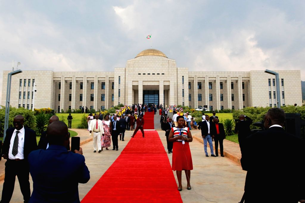BUJUMBURA, Sept. 28, 2019 - Photo taken on Sept. 27, 2019 shows the exterior of the China-aided state house in Bujumbura, Burundi. The complex with a total construction area of about 10,000 square ...
