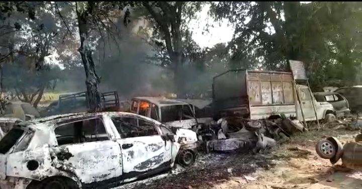 Bulandshahr: A view of vehicles that were damaged after violence erupted in Uttar Pradesh's Bulandshahr where a police Inspector was attacked and shot dead by a Hindu mob protesting against alleged cow slaughter while a young man was gunned down in u