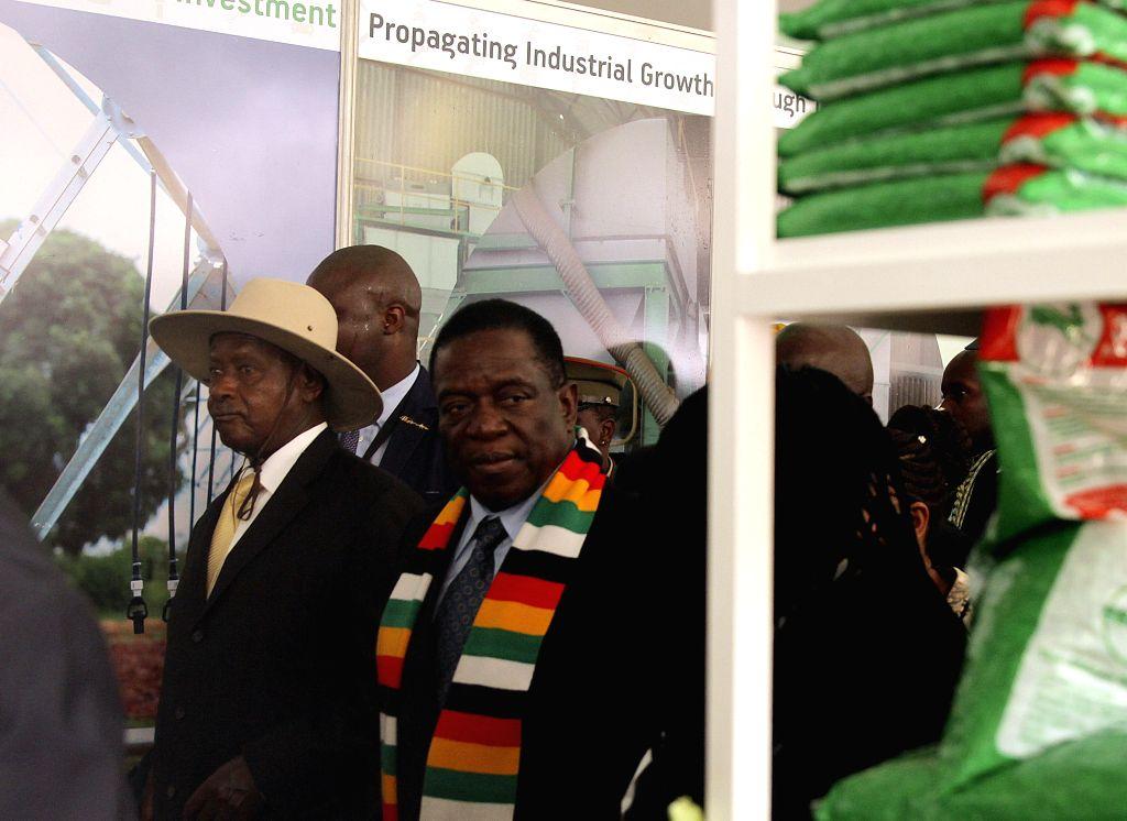 BULAWAYO (ZIMBABWE), April 26, 2019 Zimbabwean President Emmerson Mnangagwa (front, 2nd L) visits the Zimbabwe International Trade Fair (ZITF) in Bulawayo, Zimbabwe, April 26, 2019. The ...