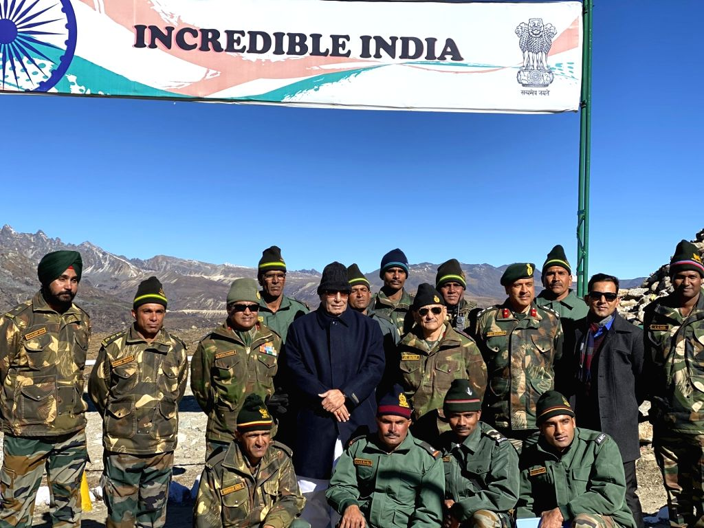 Bum La: Defence Minister Rajnath Singh during his visit to India's forward areas in Bum La along the Line of Actual Control (LAC) with China on the second day of his two-day visit to Arunachal ... - Rajnath Singh