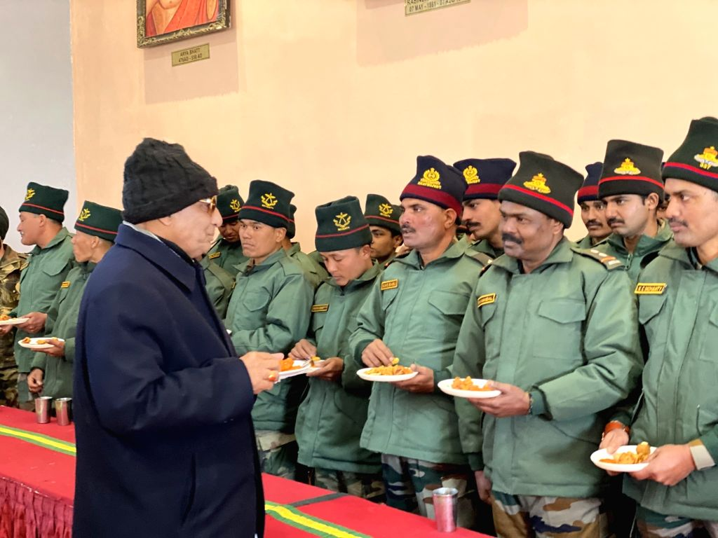Bum La: Defence Minister Rajnath Singh interacts with Indian Army troops during his visit to India's forward areas in Bum La along the Line of Actual Control (LAC) with China on the second day of his ... - Rajnath Singh