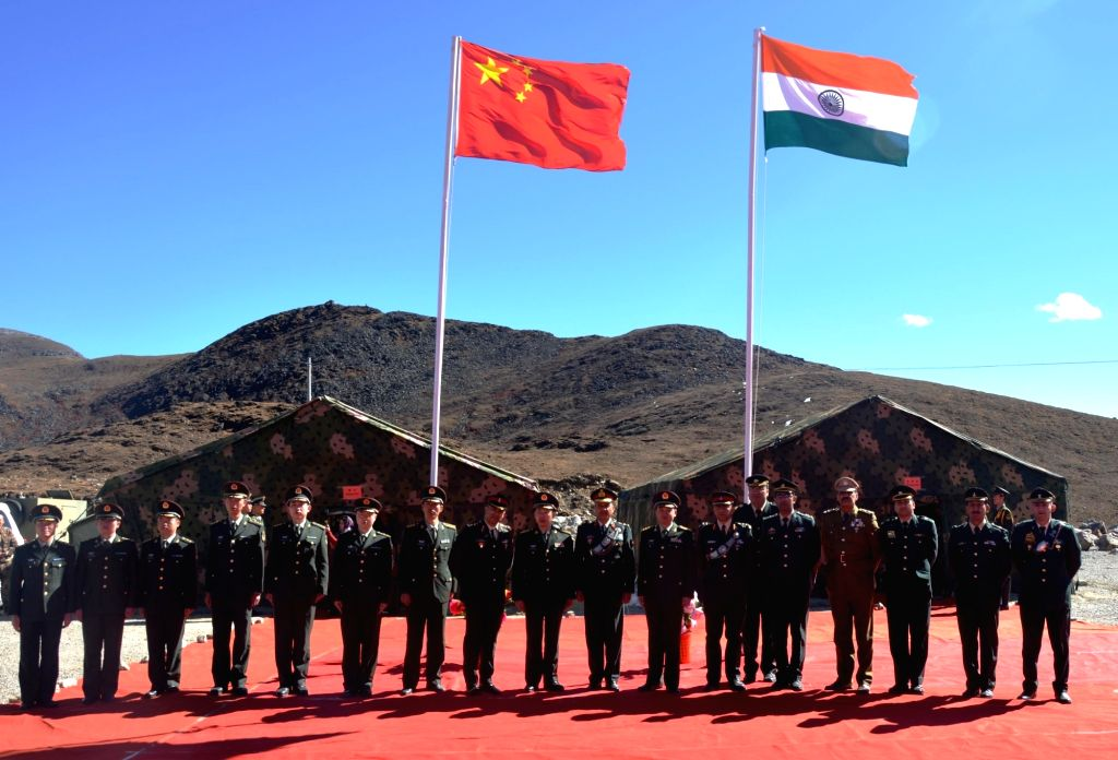 :Bum-La: Indian Army and China's People's Liberation Army during a military border personnel meeting on the Chinese side at Bum-La on Oct 30, 2018. (Photo: IANS).