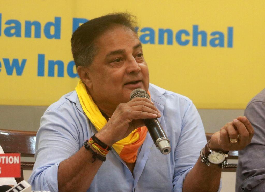 Bundelkhand Mukti Morcha president Raja Bundela addresses a press conference on Darjeeling crisis; in New Delhi on June 24, 2017.