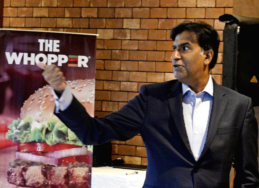 Burger King India CEO Rajeev Varman at a press conference, in Kolkata on Aug 29, 2019.
