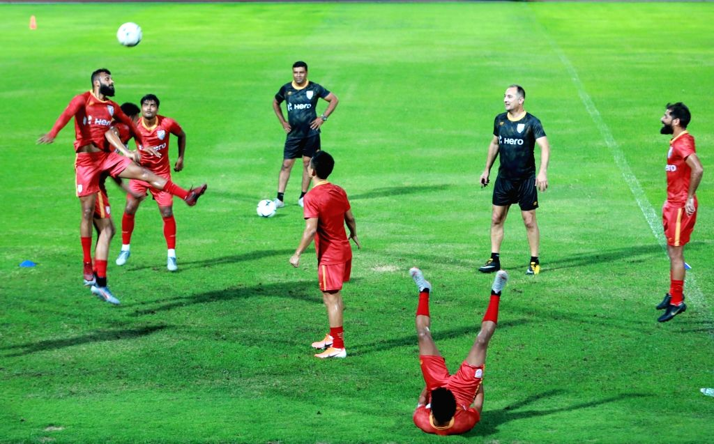 Buriram (Thailand): Players of the Indian National Football team during a practice session ahead of the team???s King???s Cup opener against Curacao at Buriram, Thailand on June 3, 2019.
